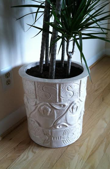 walrus planter with plant